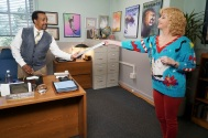 """THE GOLDBERGS: 1990-SOMETHING - This Goldbergs-inspired special event picks up where the Goldberg family leaves off at William Penn Academy in the 1990s as former teacher and now Head of School John Glascott leads a faculty of teachers with wildly different views on how to mentor students and recruits his tough-as-nails-sister Lucy to join his staff and enroll her teenage daughters Felicia and Gigi as new students. Lucy is desperate to ensure they avoid the social pitfalls of high school and finds herself torn between Glascott's nurturing and communicative approach to parenting and Coach Mellor's tough-guy belief that physical competition brings out the best in students. Even Beverly Goldberg comes to visit the school's staff despite all her kids having already graduated and can't help but meddle one last time, on """"The Goldbergs: 1990-Something,"""" WEDNESDAY, JAN. 24 (8:00-8:30 p.m. EST), on The ABC Television Network. (ABC/Ron Tom) TIM MEADOWS, WENDI MCLENDON-COVEY"""