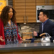 """YOUNG & HUNGRY - ÒYoung & Downton Gabi"""" - Gabi and Josh delight in their new status as an official couple, but Elliot and Yolanda are worried about how their work lives will change now that Gabi is the Òlady of the house."""" Trying to make things less awkward, Gabi asks Josh to spend more time at her apartment, but Josh is horrified when he learns how messy Gabi is. This episode of ÒYoung & Hungry"""" airs Wednesday, June 20 (8:00 - 8:30 p.m. EDT) on Freeform. (Freeform/Ron Tom) KYM WHITLEY, REX LEE"""