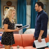 """YOUNG & HUNGRY - ÒYoung & Downton Gabi"""" - Gabi and Josh delight in their new status as an official couple, but Elliot and Yolanda are worried about how their work lives will change now that Gabi is the Òlady of the house."""" Trying to make things less awkward, Gabi asks Josh to spend more time at her apartment, but Josh is horrified when he learns how messy Gabi is. This episode of ÒYoung & Hungry"""" airs Wednesday, June 20 (8:00 - 8:30 p.m. EDT) on Freeform. (Freeform/Ron Tom) EMILY OSMENT, JONATHAN SADOWSKI"""