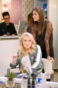"""YOUNG & HUNGRY - """"Young & Third WheelÓ - Josh decides to set Sofia up with someone, in hopes sheÕll be less of a third wheel in his and GabiÕs relationship.Ê But when Sofia hits it off with JoshÕs dentist, Gabi isnÕt so sure heÕs the right one for her friend.Ê Meanwhile, Elliot turns to Yolanda for help in reigniting the spark between him and Alan.Ê Guest starring Bryan Safi, Lainie Kazan, and series star Aimee CarreroÕs real life husband Tim Rock. This episode of """"Young & HungryÓ airs Wednesday, June 20 (8:30 - 9:00 p.m. EDT) on Freeform. (Freeform/Tony Rivetti) EMILY OSMENT, LESLIE-ANNE HUFF"""