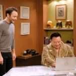 """YOUNG & HUNGRY - """"Young & Third WheelÓ - Josh decides to set Sofia up with someone, in hopes sheÕll be less of a third wheel in his and GabiÕs relationship.Ê But when Sofia hits it off with JoshÕs dentist, Gabi isnÕt so sure heÕs the right one for her friend.Ê Meanwhile, Elliot turns to Yolanda for help in reigniting the spark between him and Alan.Ê Guest starring Bryan Safi, Lainie Kazan, and series star Aimee CarreroÕs real life husband Tim Rock. This episode of """"Young & HungryÓ airs Wednesday, June 20 (8:30 - 9:00 p.m. EDT) on Freeform. (Freeform/Tony Rivetti) JONATHAN SADOWSKI, REX LEE"""