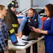 """CHICAGO MED -- """"The Poison Inside Us"""" Episode 407 -- Pictured: (l-r) Tracy Spiridakos as Det. Hailey Upton, S. Epatha Merkerson as Sharon Goodwin -- (Photo by: Elizabeth Sisson/NBC)"""