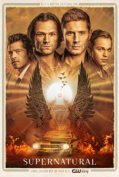 Supernatural -- Image: SN_S15_8x12_300dpi.jpg -- Pictured (L-R): Misha Collins as Castiel, Jared Padalecki as Sam, Jensen Ackles as Dean and Alexander Calvert as Jack -- Credit: The CW -- © 2019 The CW Network. All Rights Reserved