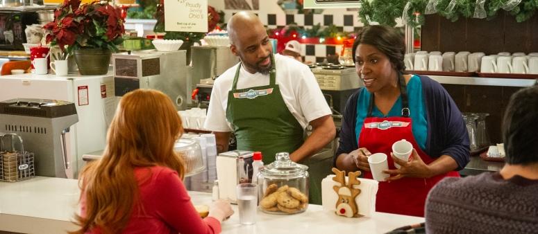 Christmas Jars_Restauranters Cynthia Roberts(Nadine Roden) & Chuck Roberts (Eddi G) with Hope